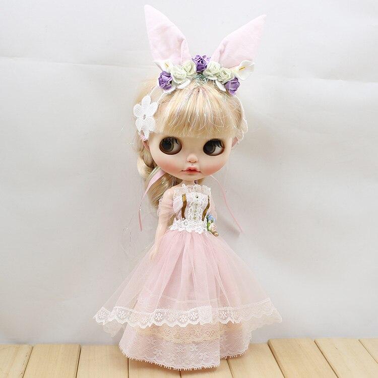 Neo Blythe Doll Wedding Dress With Rabbit Headdress 5