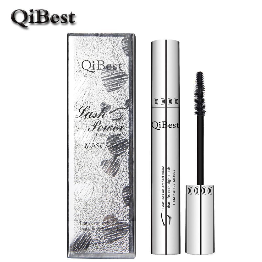 QiBest Bushy Mascara Waterproof Non Smudge Silicone Brush Rimel 3d Colossal Curling Black Mascara Fibre Eye
