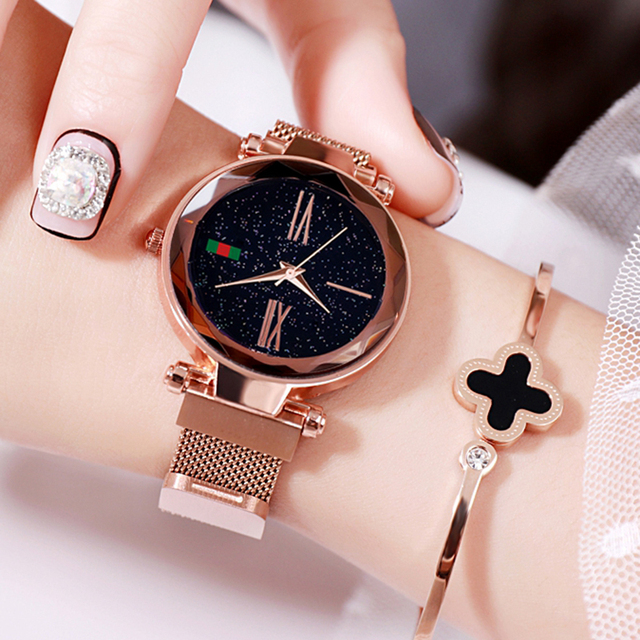 Luxury Rose Gold Women Watches Minimalism Starry sky Magnet Buckle Fashion Casual Female Wristwatch Waterproof Roman Numeral 1