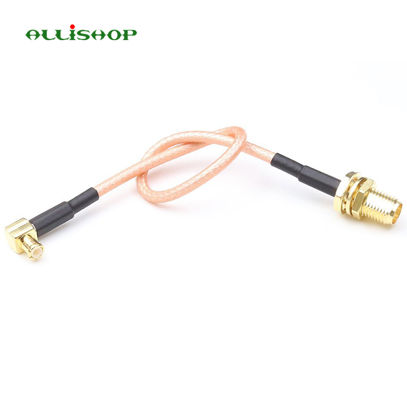 15cm SMA Female Bulkhead to MCX Plug Male Right Angle RG316 Low Loss Pigtail Adapter Cable RF coaxial coax cable assembly high quality low attenuation rp sma female jack switch bnc right angle male plug pigtail cable rg142 50cm 20 adapter