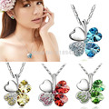 Free Shipping Crystal Rhinestone Four Leaf Clover Pendant Necklace Sweet Unique Peach Heart ZB380