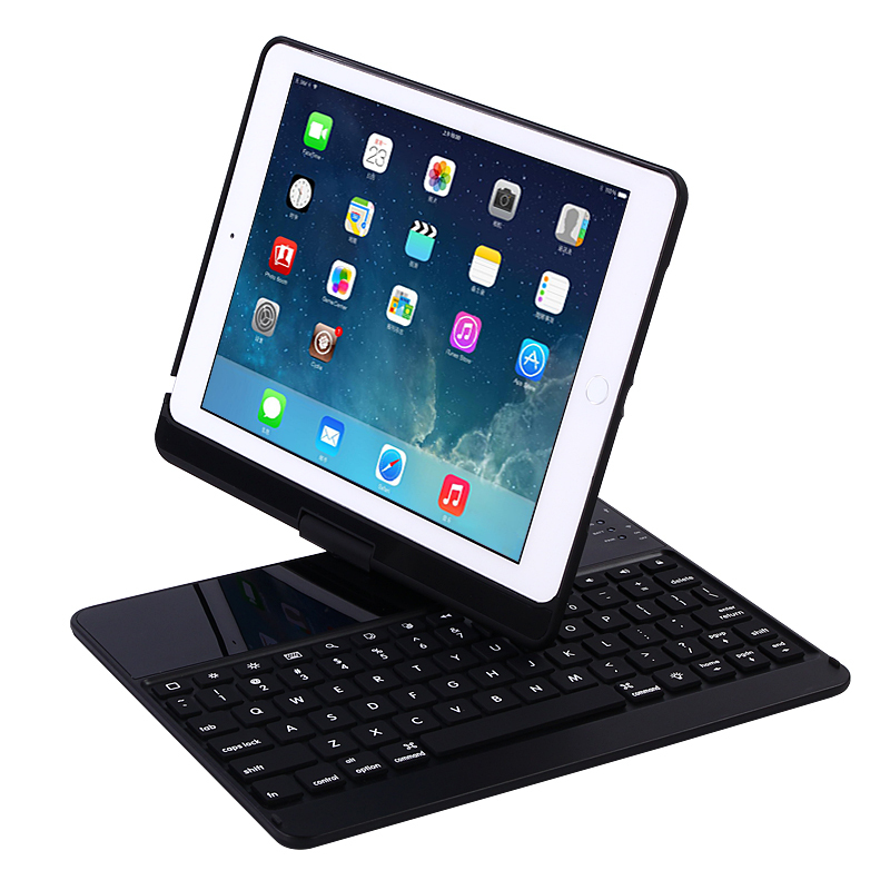 bilder für 360 Grad 7 Farbe Hintergrundbeleuchtung Drahtlose Bluetooth Tastatur Smart Cover Für Neue iPad 9,7 2017 Schutzstandplatz-fall-abdeckung
