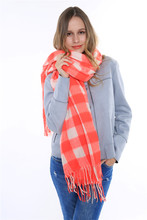 2015 Design Tassels Shawls and Scarves Top Quality Thick Warm Pashmina Banket Winter Women Tartan Plaid Red Scarf 175X70cm