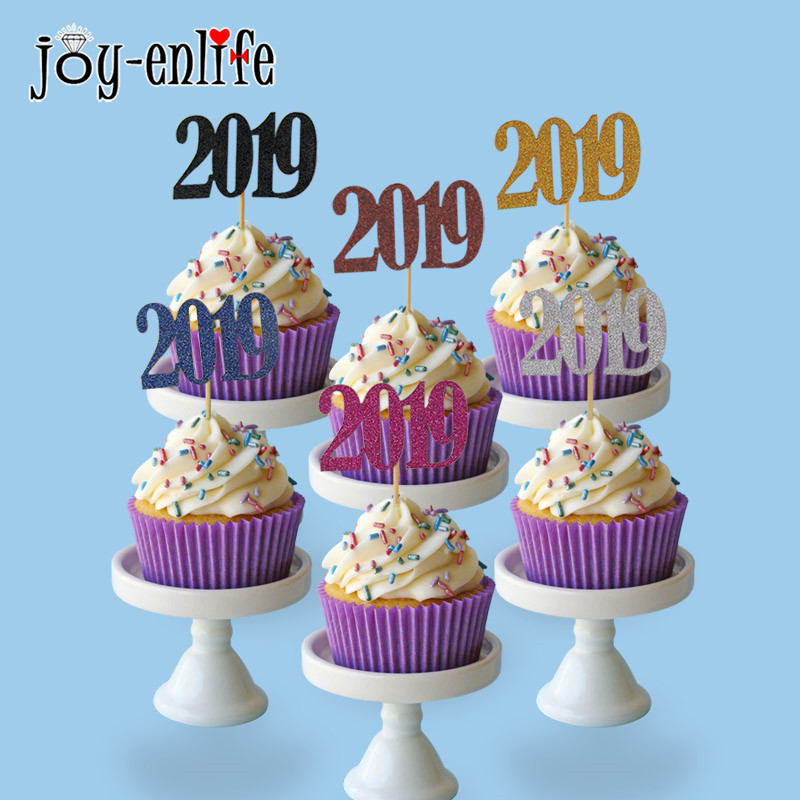 Joy Enlife 12pcs Glittering 2019 Cake Topper Happy New Year