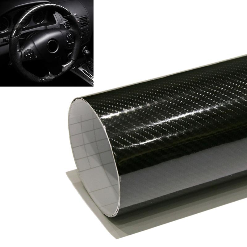 цена на Car Styling 152*30cm High Gloss 5D Black Carbon Fiber Vinyl Film Carbon Fibre Car Wrap Sheet Roll Film tools Car Sticker Decal
