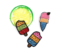 embroidery india silk pin on patches for clothing brooch ice cream badge designer patches for jeans parches bordados para ropa