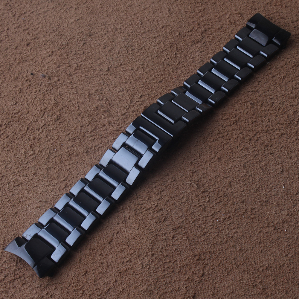 Black ceramic Watchband + Metal Clip for Samsung Galaxy Watch 46mm SM-R800 Gear S3 Replacement Band Wrist Strap Wristband curved