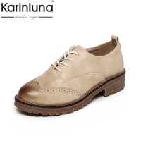 KARINLUNA Retro British Style Large Size 33 42 Brand Women Shoes Woman Lace Up Square Heels