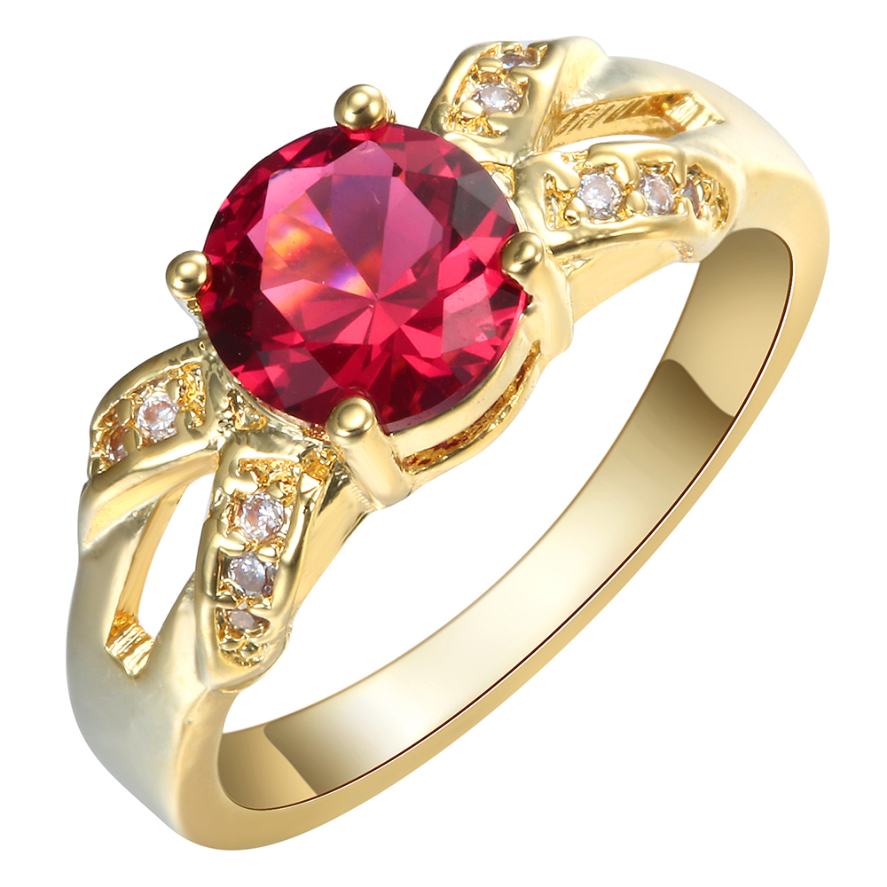 2017 Fashion gold ring red cz zircon fashion jewelry wholesale 24K