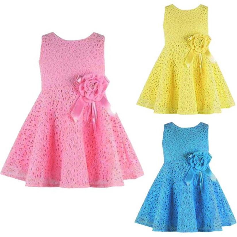 Summer 1PC Girls Kids Full Lace Floral One Piece Dress Child Princess Party Tutu CottonTulle Dress 0-3 years old vestidous M4 summer kids girls tutu one piece sleeveless big bowknot party floral dress