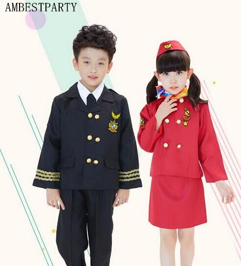 Hot 2017 Children Air Force Stewardess Less Clothing Girl Pilot