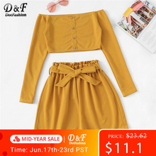 Dotfashion Ginger Off The Shoulder Button Frill Belted Two-Piece Outfit Women 2019 Summer Boho Crop Top With Shorts 2 Piece Set