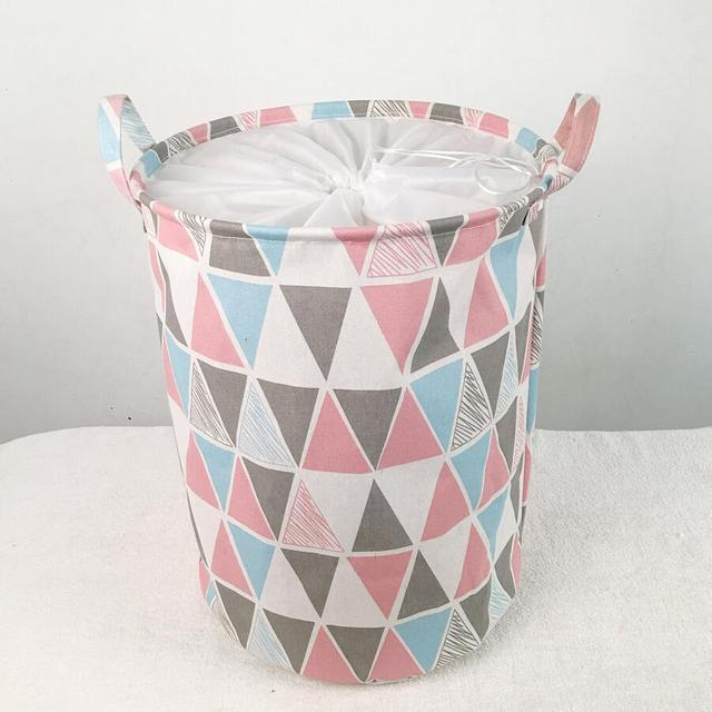 Colored Triangles Laundry Hamper Cartoon Owl Clothes Storage Baskets Home  Decoration Organizer Barrel Kids Toy Storage