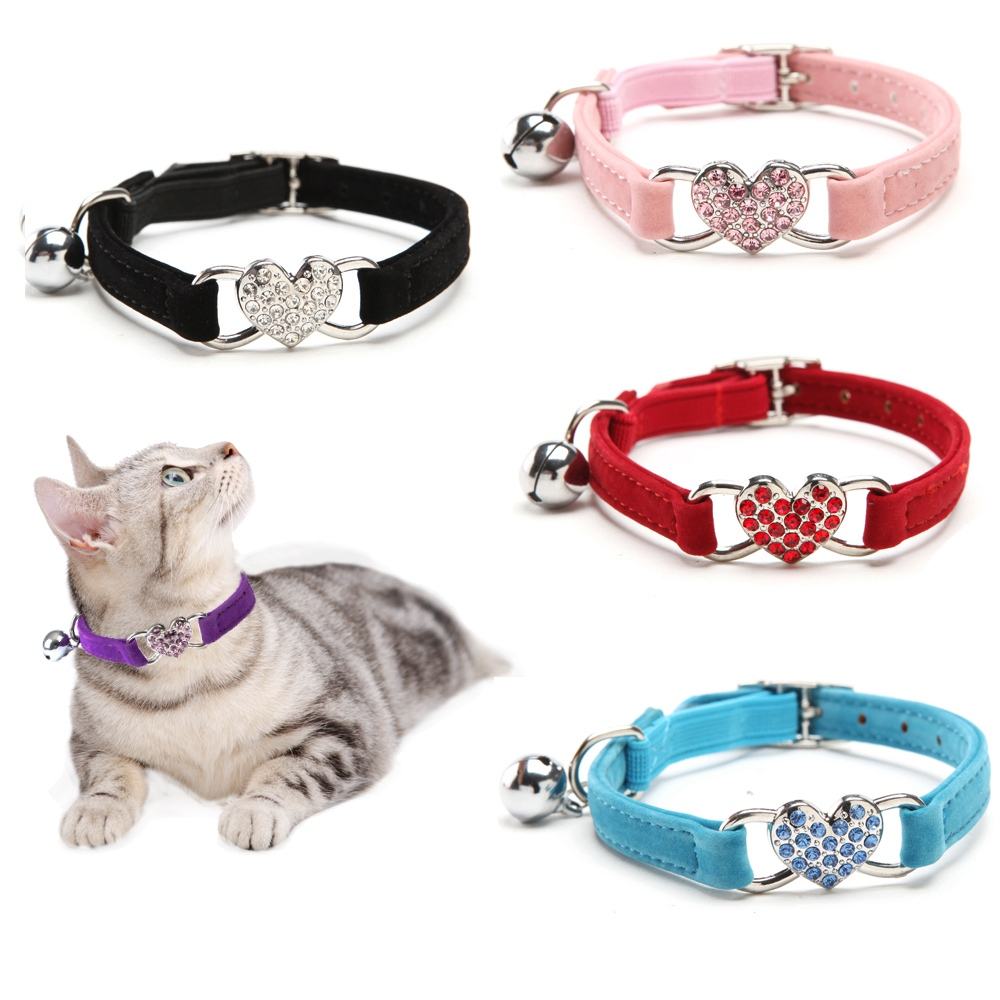 Ошейники для кошек ошейник для собак однотонный бархатный сердечко колокольчики ошейник для питомцев Чихуахуа котенок собаки поводки товары для кошек аксессуары для собак PQ007|Воротники|   | АлиЭкспресс