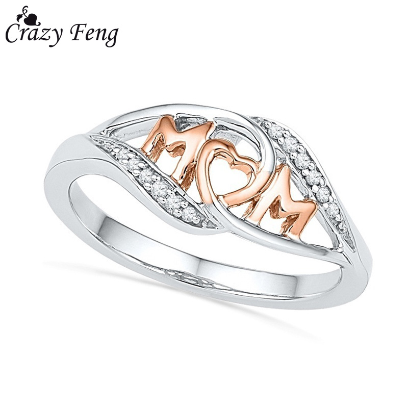 Crazy Feng Fashion Love Mom Rings Women Jewelry Paved