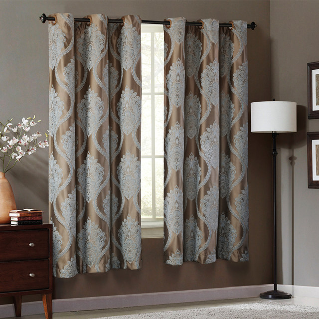 Firefly Jacquard Window Curtains Heavy Fabric High Quality With Silver Wire Embed 65 Shading For Livingroom Floral Ivory Color