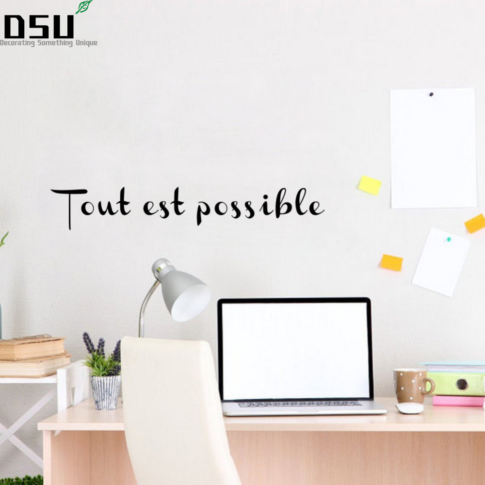 Tout Est Possible French Motivational Inspirational Quote Vinyl Wall Stickers For Living Room Bedroom Wall Home Decor Wallpaper