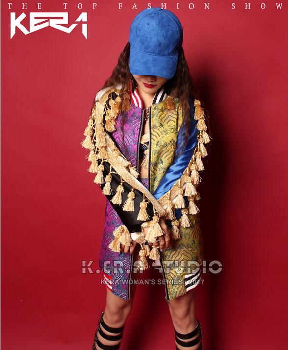 Jaune hop Qualité Violet Couture De Partie bra Performance Long Lâche Gland Jacket And Haute Mode Manteaux Briefs Tassel Femmes Broderie Hip Veste gxqEfFw7