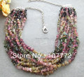 Charming! Natural 10 strands  Tourmaline Necklace  free shipment