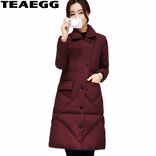 TEAEGG Woman Winter cCoats And Jackets Mid Long Parkas Mujer Invierno 2017 Wine Red Slim Winter Jacket Women Coat Outwear AL302