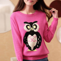 discount The wind in the spring and autumn winter new college Ms cartoon owl long sleeved round collar sweater