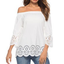 Women Solid Lace Blouse White Sexy Off Shoulder Hole Hollow Out Tops and Blouse Summer Casual Shirt Loose Tees Shirt Blousa#5$(China)