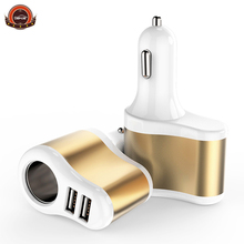 New design Car Charger Dual USB Cigarette Lighter One care two mobile Cell Phones Tablet PC phone car charger freeshipping