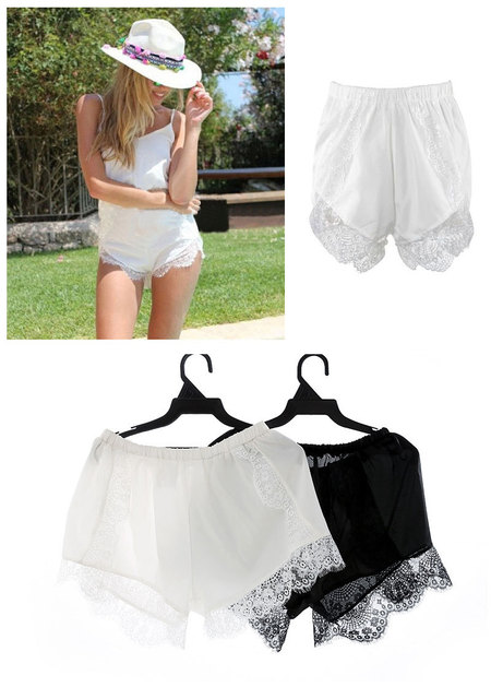 2016 Hot Sell Fashion Black/White Free Size Women Girl Elastic Casual Shorts High Waist Lace Shorts Croth Fitness D11