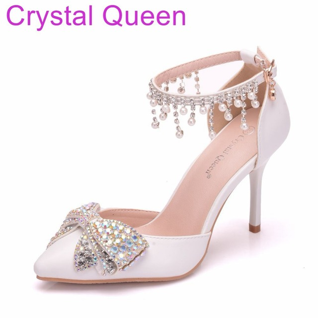 Crystal Queen Women Sandals Thin Heels Pointed Toe Shoes White Wedding  Bridals Shoes Plus Size 42 be157e097627