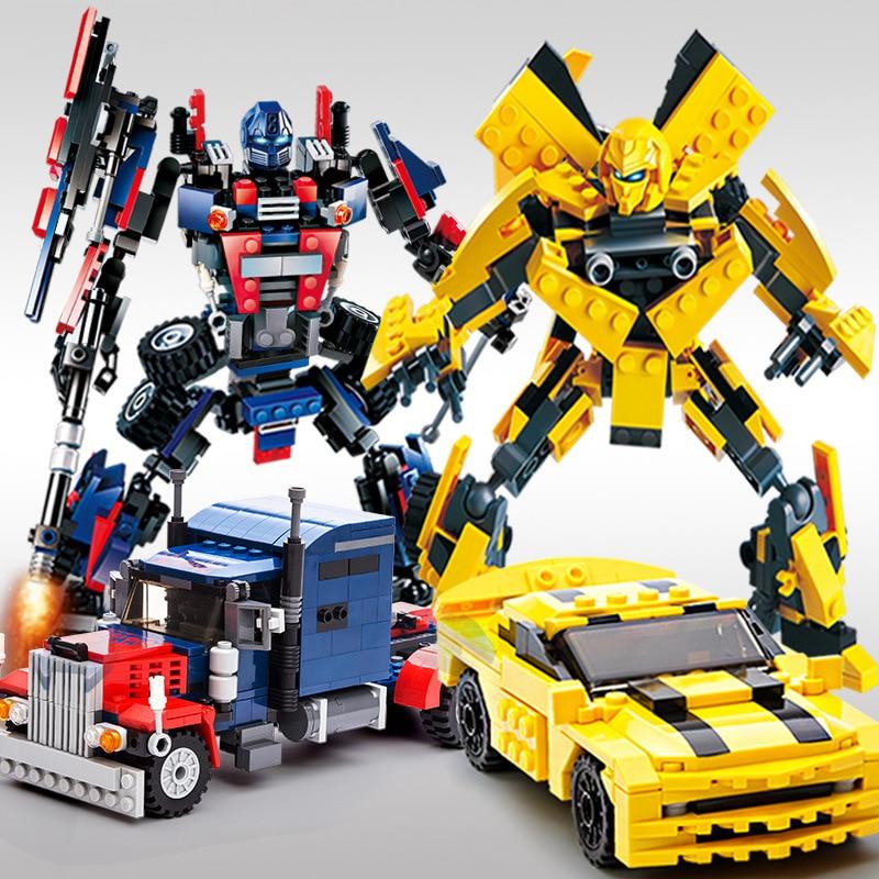 New Original Movie Transformation Robot Bumblebee Optimus prime Dinosaur King 3D DIY Legoe Compatible Building Blocks