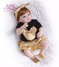 NPK 56 سنتيمتر سيليكون كامل الجسم تولد من جديد دمية الحياة الحقيقية الذهبي الأميرة الطفل دمية للأطفال يوم هدية طفل عيد الميلاد gif مقاوم للماء