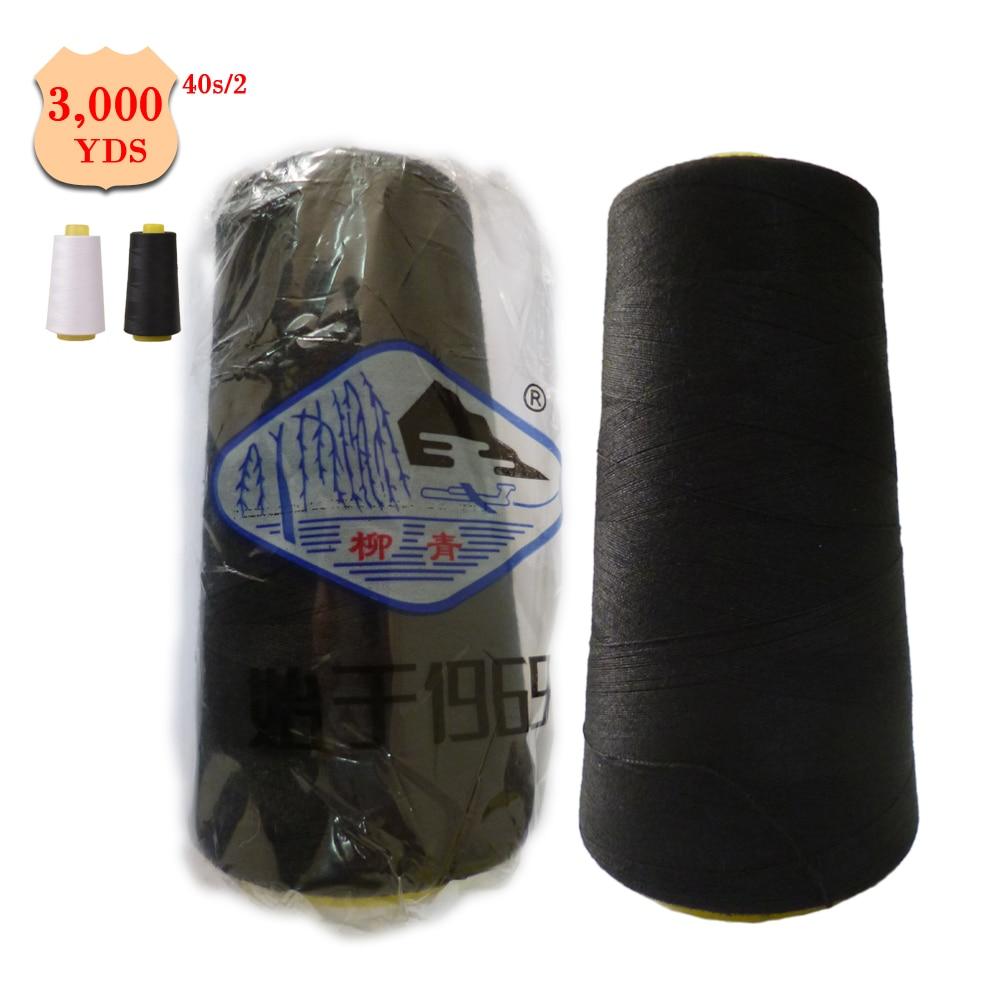 Benang Jahit 40 S 2 Polyester 3000y Spool Warna Hitam Dan Putih A152 Cair Pembersih Opc Drum