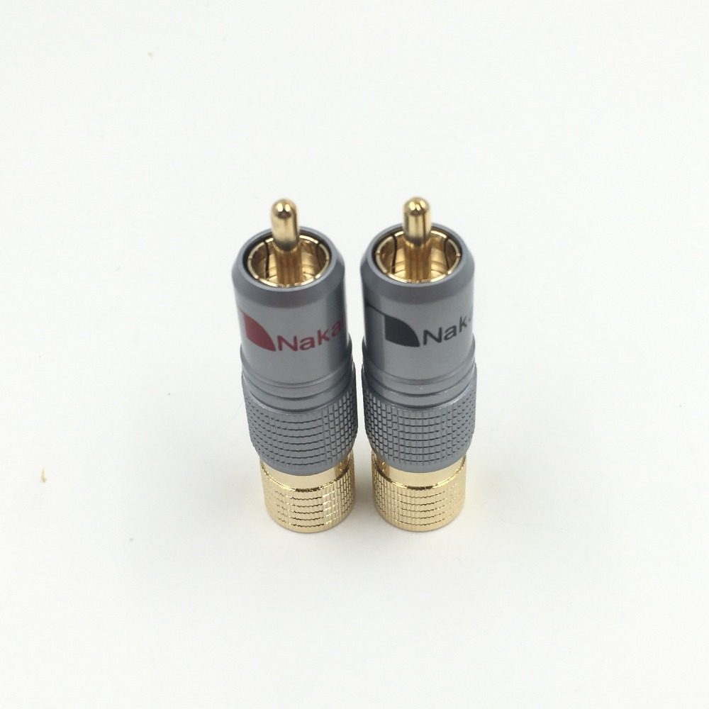 2pcs NAKAMICHI 10mm Gold Plated RCA Plug Locking Non Solder Plug RCA Coaxial Connector Socket Adapter factory High Quality 1pair gold plated rca jack connector panel mount chassis audio socket plug bulkhead with nut solder cup wholesale 2pcs