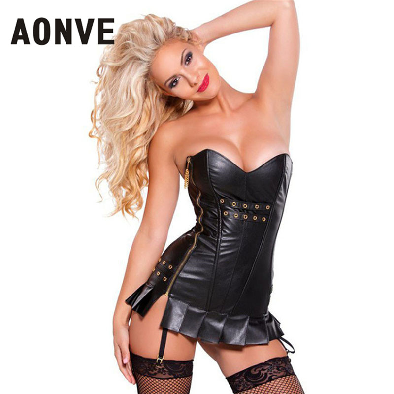 AONVE Black Corset Steam Punk Corsets And Bustiers Halloween Steampunk Faux Leather  Sexy Gothic Bodice Straitjacket