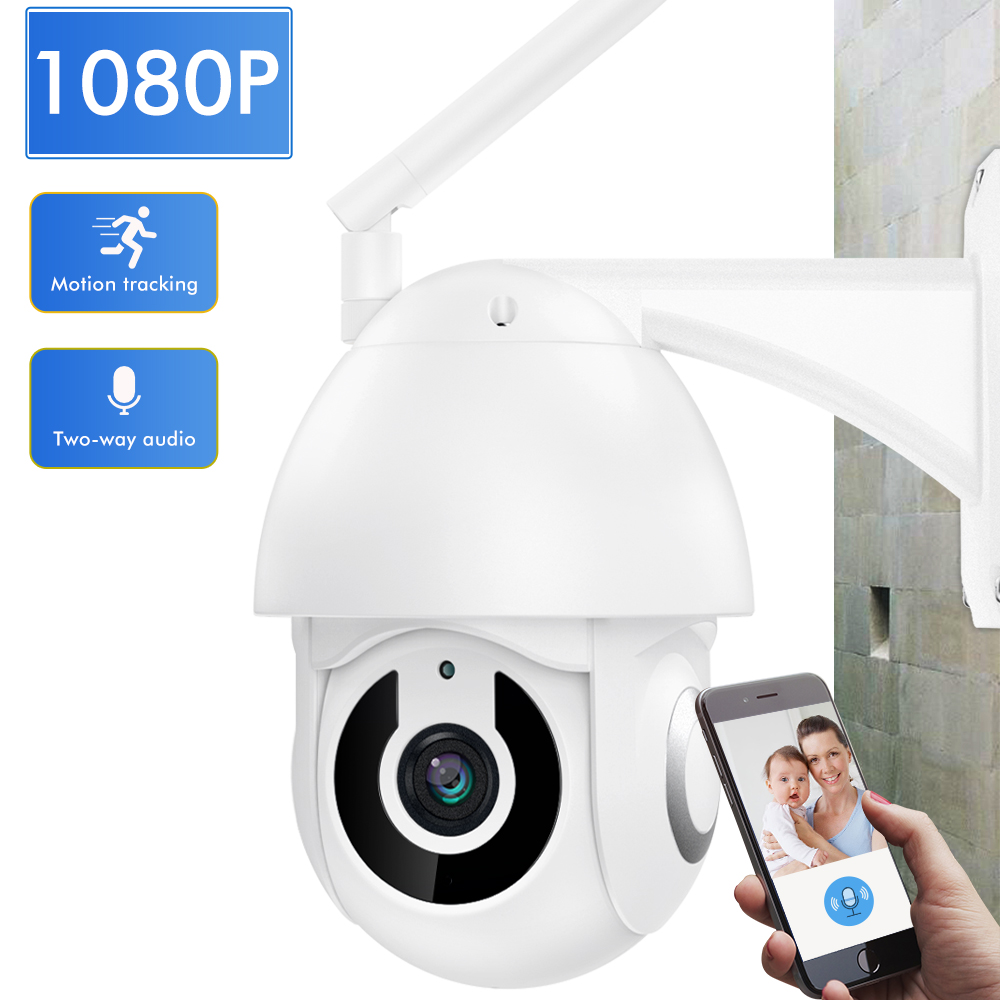 SDETER 1080P Wireless Outdoor Camera Wifi Speed Dome Security Camera CCTV 2 Way Audio 4X Pan