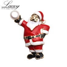 New design Santa Claus brooch jewelry,natural pearls christmas gift