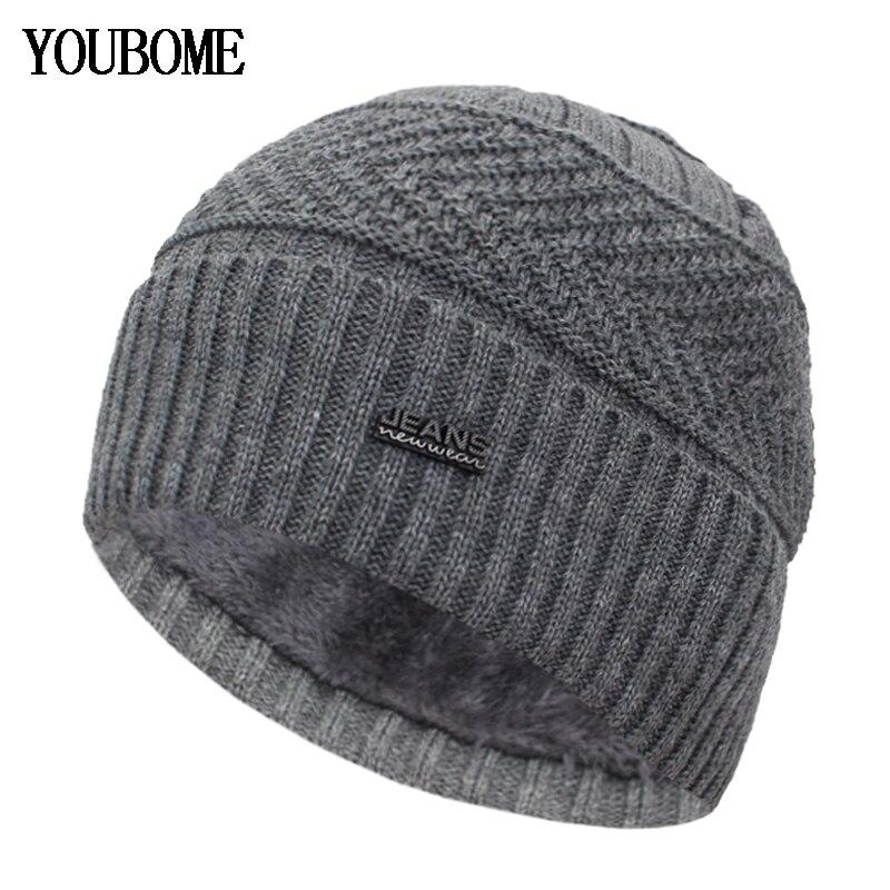 YOUBOME Skullies Beanies Winter Hats For Men Beany Knitted Hat Women Male Gorras Warm Soft Neck Balaclava Bonnet Beanie Hat Cap 1
