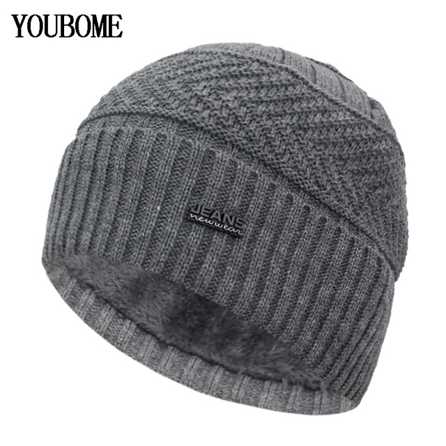 YOUBOME Skullies Beanies Winter Hats For Men Beany Knitted Hat Women Male Gorras Warm Soft Neck Balaclava Bonnet Beanie Hat Cap 1