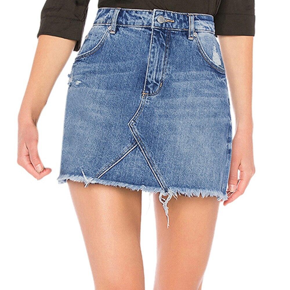 Saias Frauen Blau Denim Rock Casual Mädchen cowboy Hohe Taille EINE Linie Rock Taschen Taste Jeans Röcke Faldas Cortas # Z