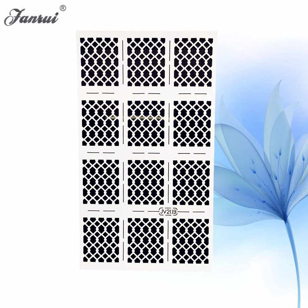 Fish Scale Pattern Nail Art Stamping Hollow Sticker White Nail Vinyl  Template Stencil Guide Manicure For Airbrush Painting Tools