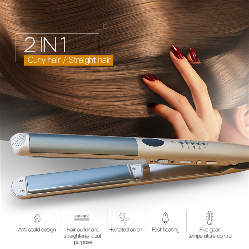 Negative Ion Electric Hair Straightening Iron Professional Hair Straightener 5 Level Temperature Hair Curler Flat Iron with LockNegative Ion Electric Hair Straightening Iron Professional Hair Straightener 5 Level Temperature Hair Curler Flat Iron with Lock
