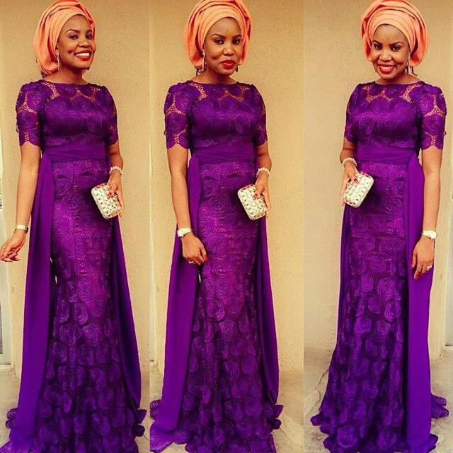 Us 179 0 Purple Lace With Short Sleeves Mermaid Bridal Party Prom Dress 2015 Nigerian Wedding Guest Evening Dresses Bateau Formal Gowns In Evening