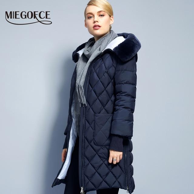 2017Miegofce New Collection Winter Womens Jacket Coat Original Fur Collar Women Parkas Fashion Brand Womens Cotton Padded Jacket