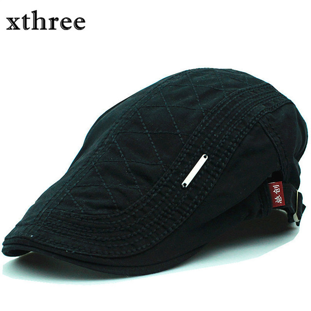 17e855202ded2 Xthree Fashion Beret Cap Cotton Hats for Men and Women Visors Sunhat Gorras  Planas Flat Caps Adjustable Berets