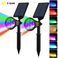 NEW 7 LED Solar Spotlight Auto Color Changing Waterproof Solar Powered Security Landscape Wall Light For