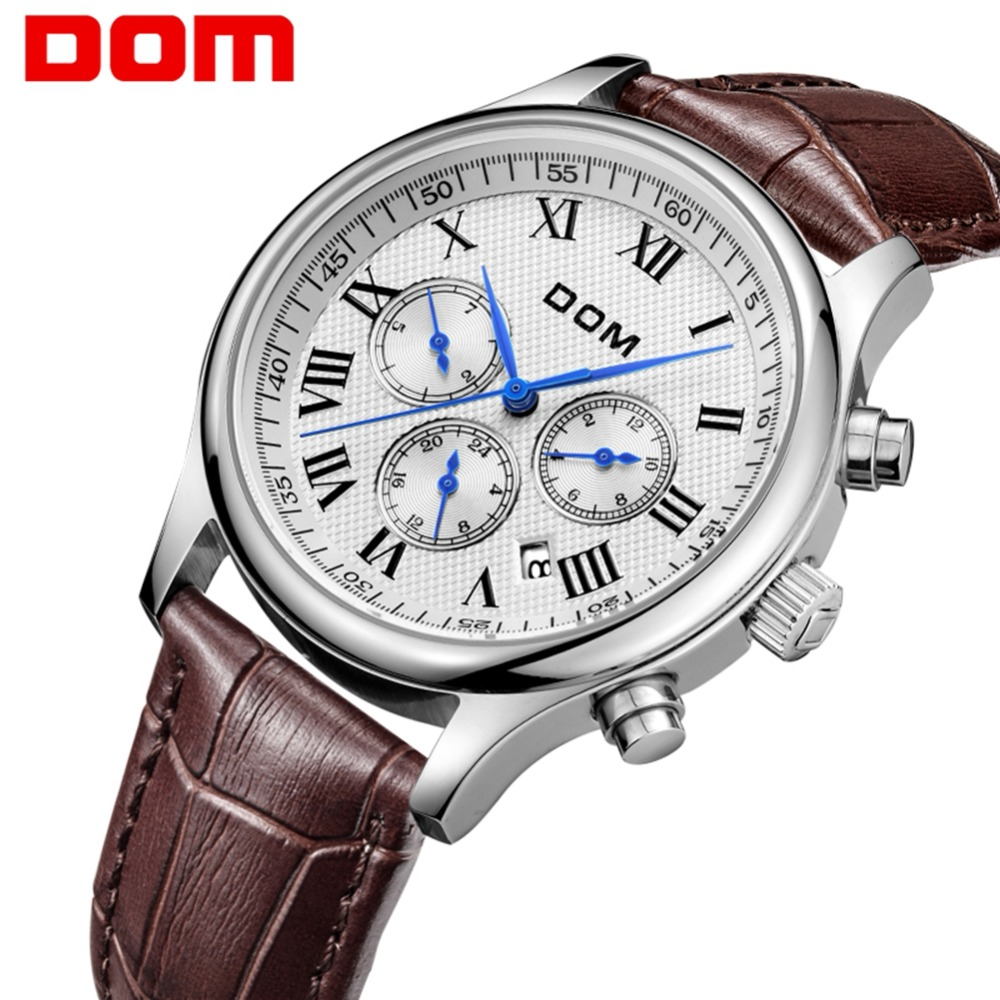 DOM men watches top brand luxury watch waterproof mechanical watch leather watch Business reloj hombre marca de lujo M-56L-7M dom top brand quartz watch for men luxury waterproof business watches fashion leather strap clock reloj hombre marca de lujo m41