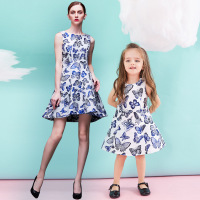 Mother Daughter Dresses Family Matching Clothes Thickened Jacquard Dress Butterfly Mother And Daughter Dress Mother Daughter