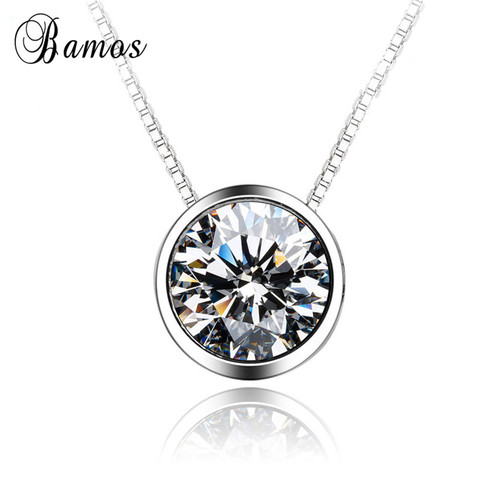 Bamos Simple & Fashion 925 Silver Filled Bridal Choker Round White AAA Zircon Pendants & Necklaces For Women Lover Gifts HP045 Pakistan