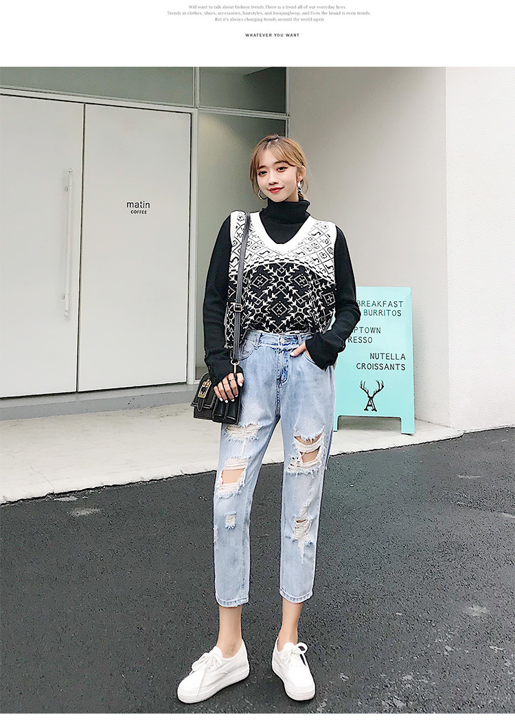 Blue Loose Vintage High Waist Ripped Jeans For Women 27