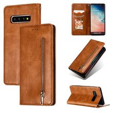 Leather wallet phone case for Samsung Galaxy S7 S8 S9 S10 PLUS E short lanyard bracket bank card slot magnetic zipper flip cover